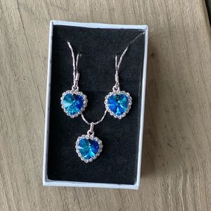 Blue Crystal Necklace and matching Earrings set